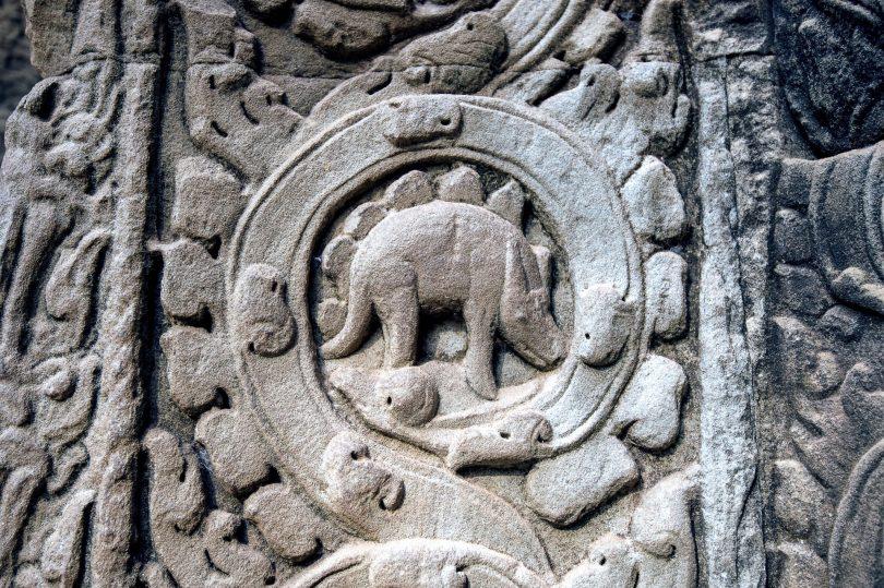 stone stegosaurus temple Cambodian